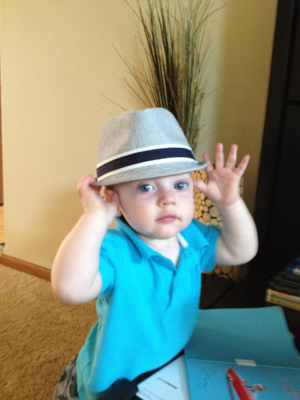 Oliver with hat (July 2013)