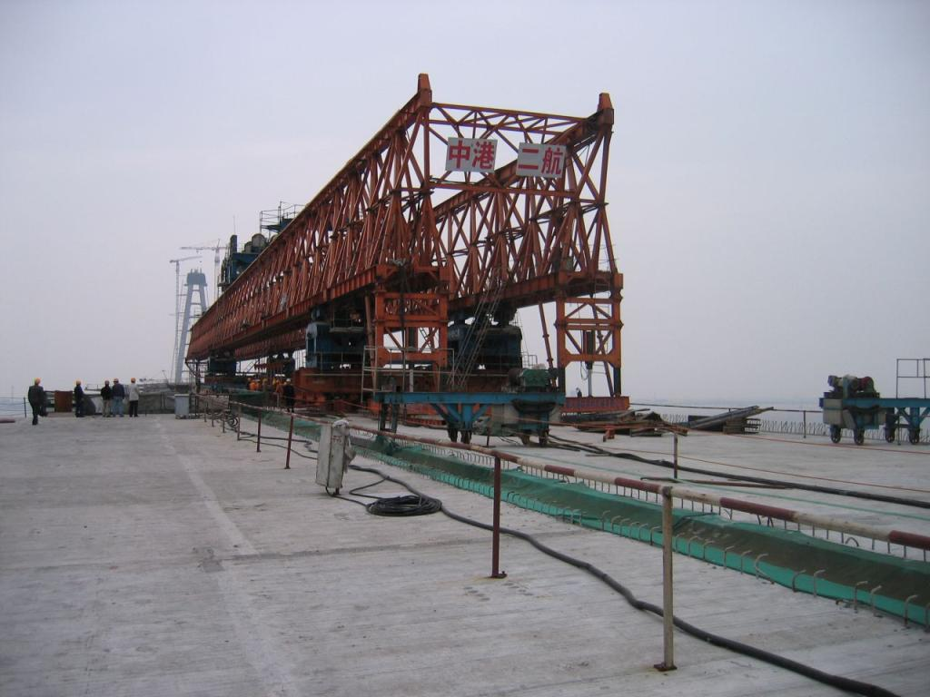 Unbelievably huge crane supporting the section of bridge now under construction